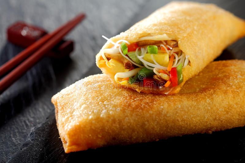 Crispy spring roll with vegetables and sprouts royalty free stock photography
