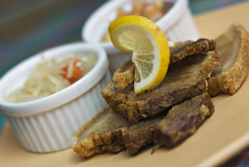 crispy stekt pork för bagnet arkivfoto