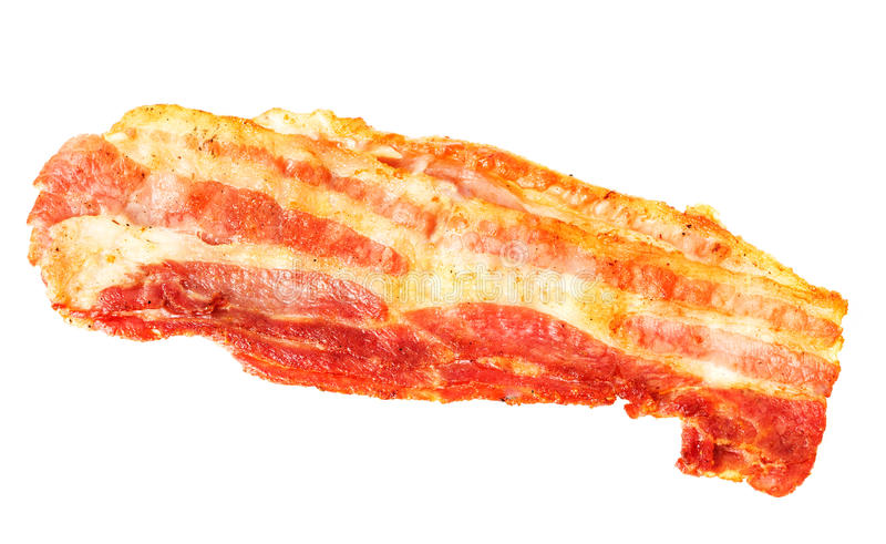 Crispy strip of bacon. Close-up isolated on white background stock photography