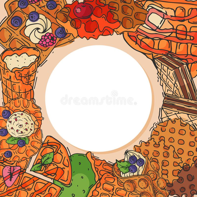 Crispy wafer, chocolate cream flavor belgian dessert cookie poster vector illustration. Sweet food snack biscuit with stock illustration