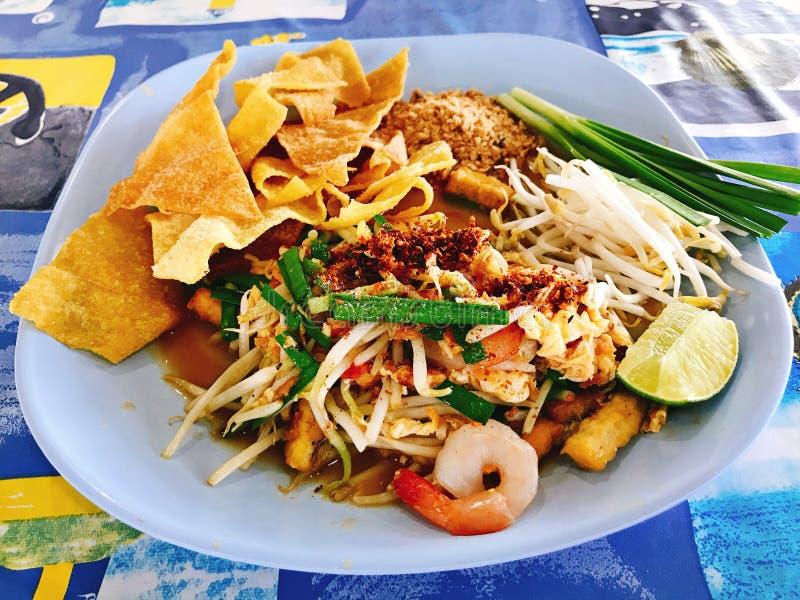 Crispy Wonton Pad Thai with fresh prawns. Crispy Wonton Pad Thai with fresh prawns in Thailand royalty free stock photography