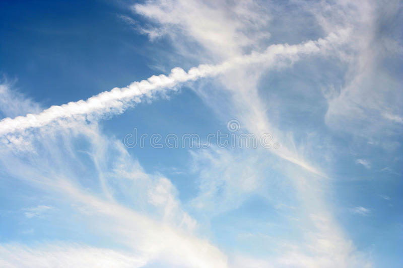 Criss Cross Sky stock image