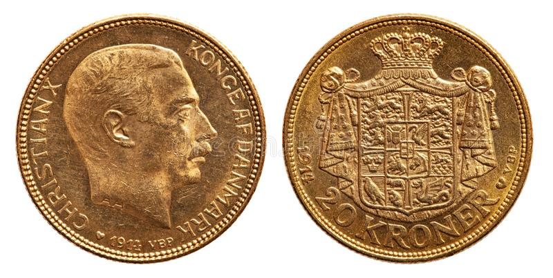 Cristão 1914 das coroas da moeda de ouro 20 de Dinamarca imagens de stock