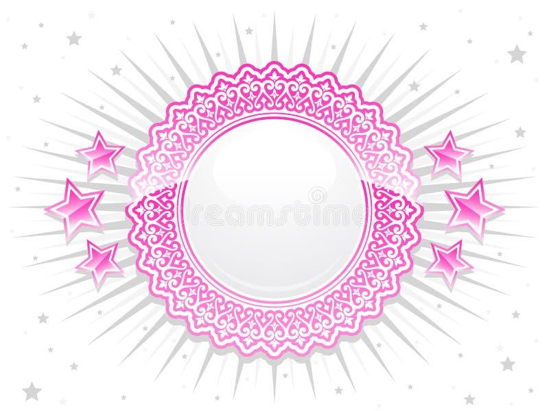 Crista brilhante cor-de-rosa do laço com estrelas ilustração do vetor