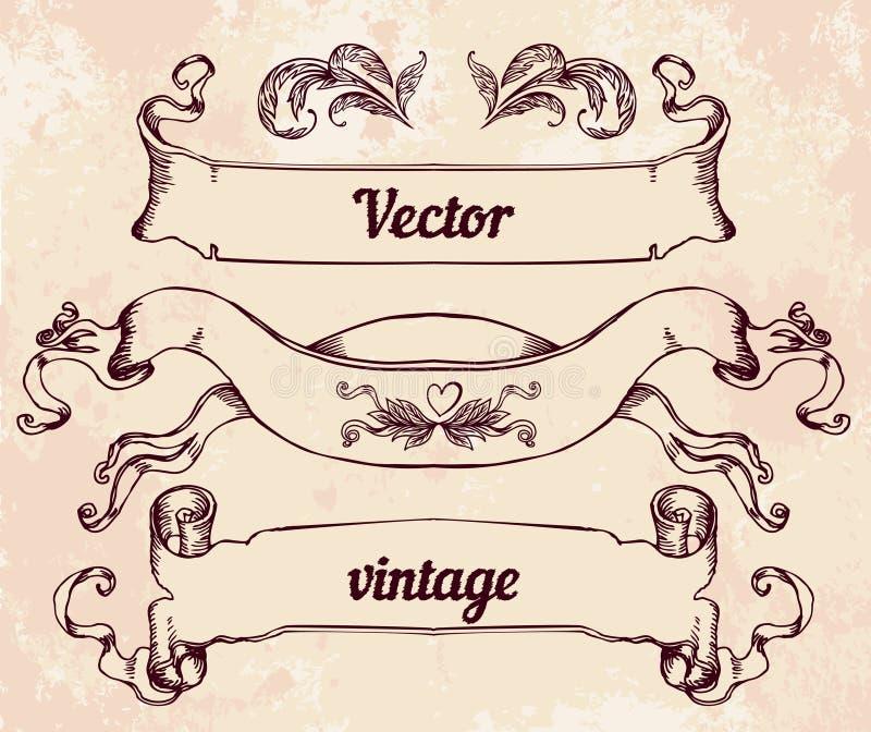 Crista com elementos do projeto do estilo do vintage, uso para o logotipo, quadro ilustração royalty free