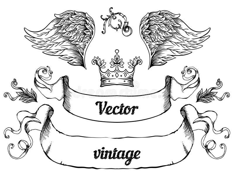 Crista com elementos do projeto do estilo do vintage, uso para o logotipo, quadro ilustração stock