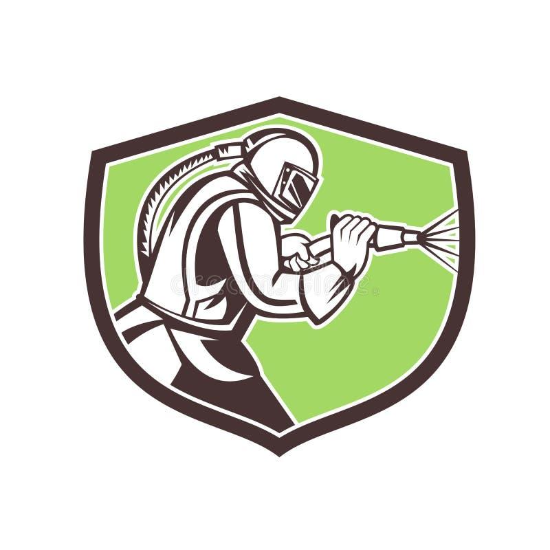 Crista da mascote do sopro abrasivo ilustração do vetor