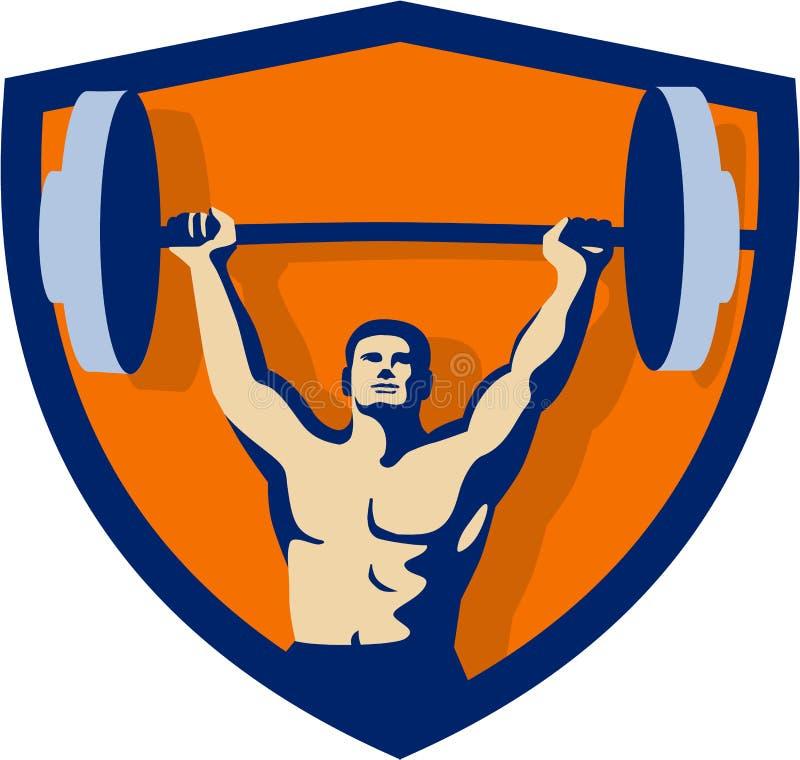 Crista de levantamento do Barbell do Weightlifter retro ilustração royalty free