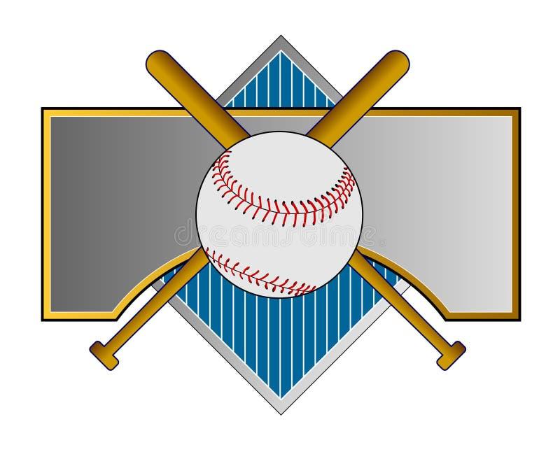 Crista do basebol com bastão ilustração do vetor