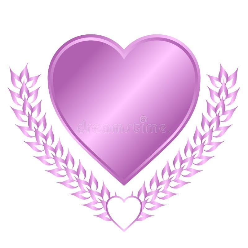 Crista do coração da alfazema ilustração royalty free