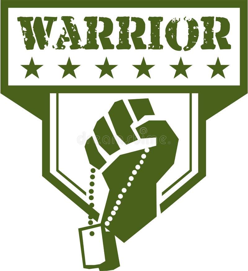 Crista do guerreiro de Hand Clutching Dogtag do soldado retro ilustração do vetor