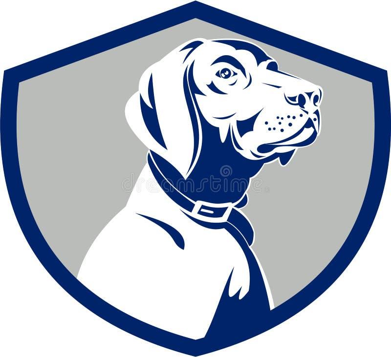 Crista do lado do perfil da cabeça do ponteiro do cão retro ilustração do vetor