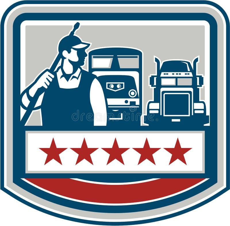 Crista do trem do caminhão do trabalhador da arruela do poder retro ilustração royalty free