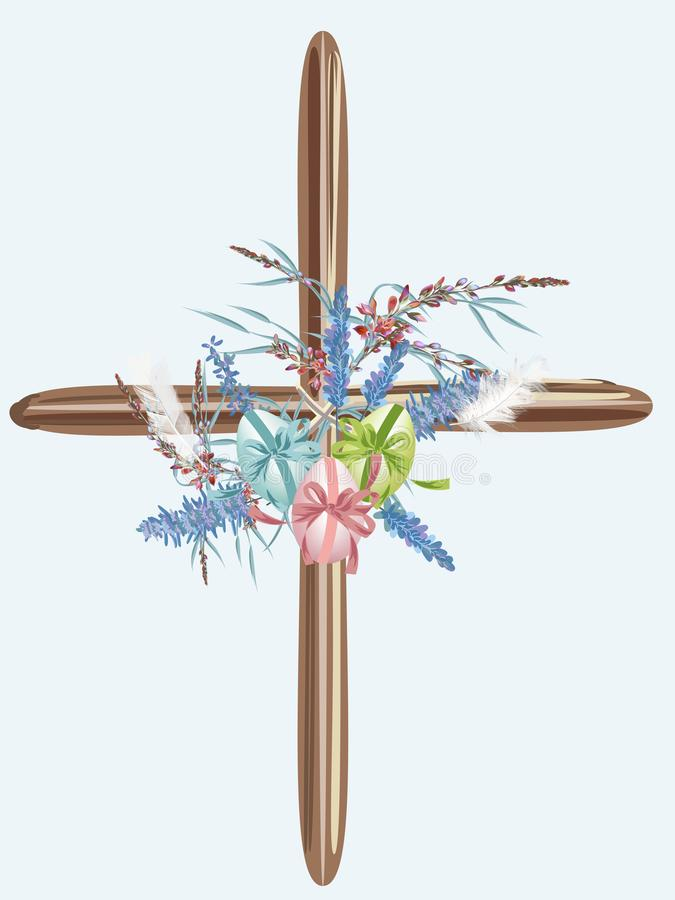 Crista do vetor da Páscoa decorada por flores e por ovos ilustração do vetor