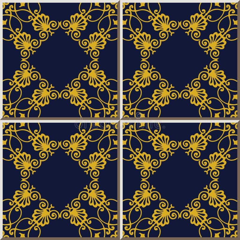 Crista dourada do quadro da cruz da verificação da curva da espiral do teste padrão do azulejo ilustração stock