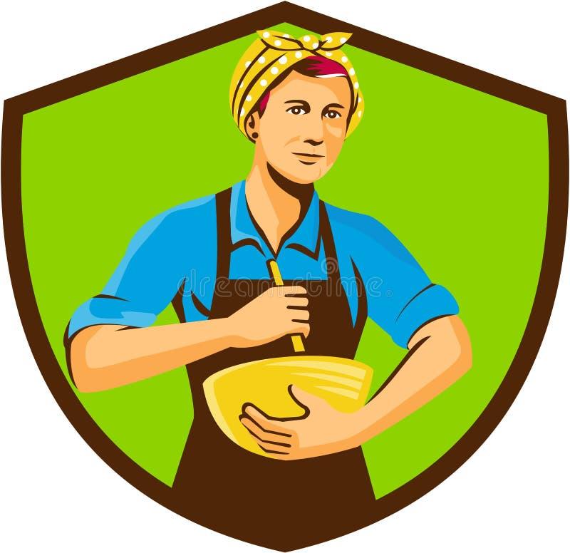Crista fêmea de Bandana Mixing Bowl do cozinheiro chefe retro ilustração stock