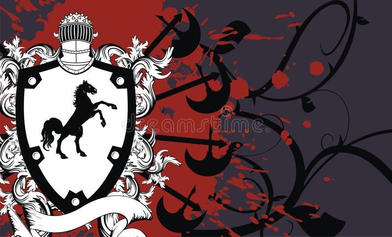 Crista heráldica background3 do protetor do cavalo ilustração do vetor