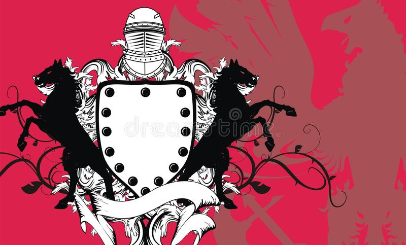 Crista heráldica background6 do protetor do cavalo ilustração stock