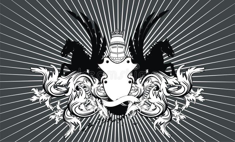 Crista heráldica background9 do protetor do cavalo ilustração stock