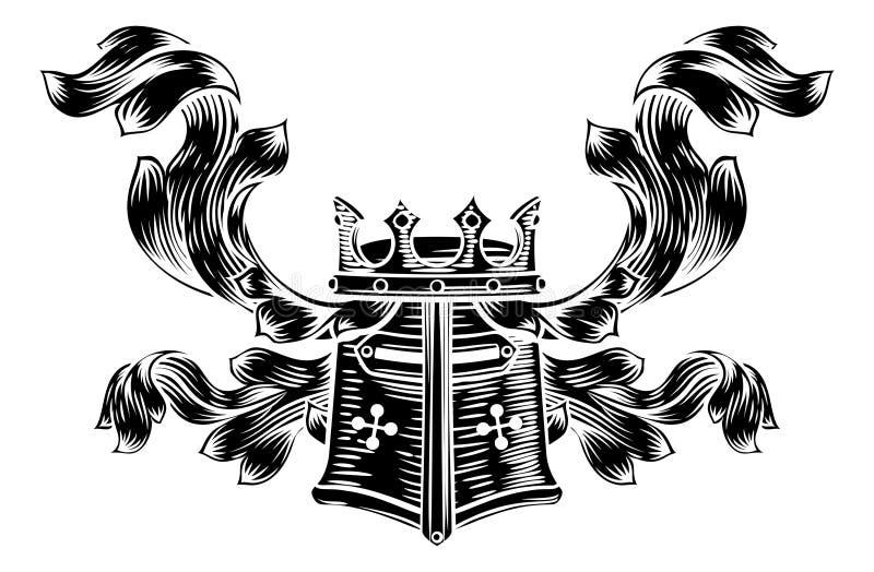 Crista heráldica da brasão do capacete ilustração stock