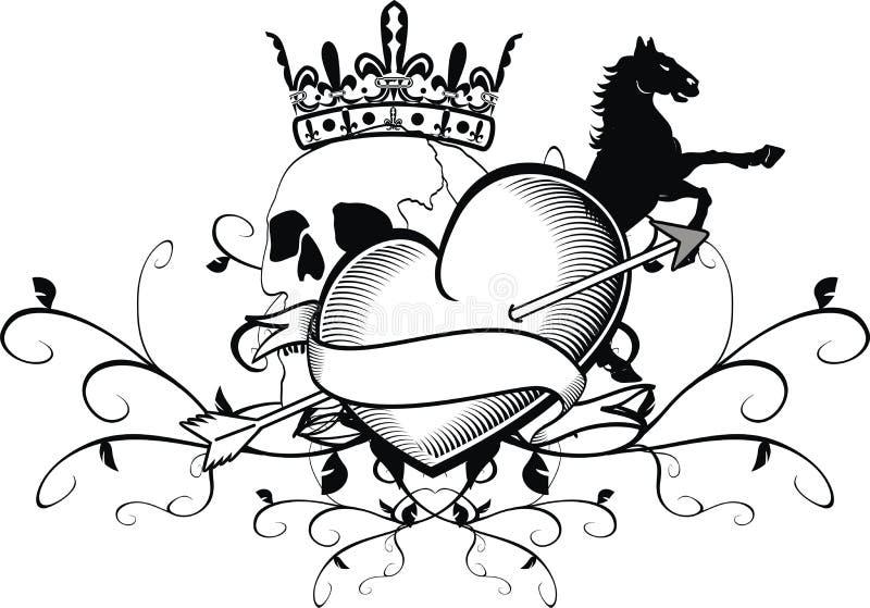 Crista heráldica da brasão do crânio da tatuagem do coração ilustração royalty free