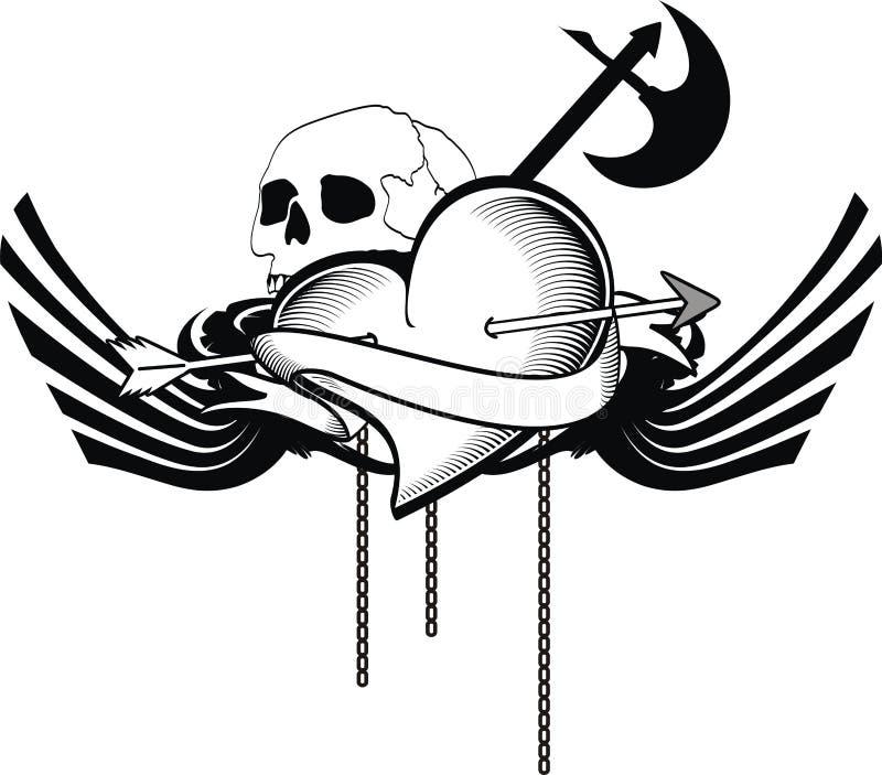 Crista heráldica da brasão da tatuagem do coração ilustração do vetor