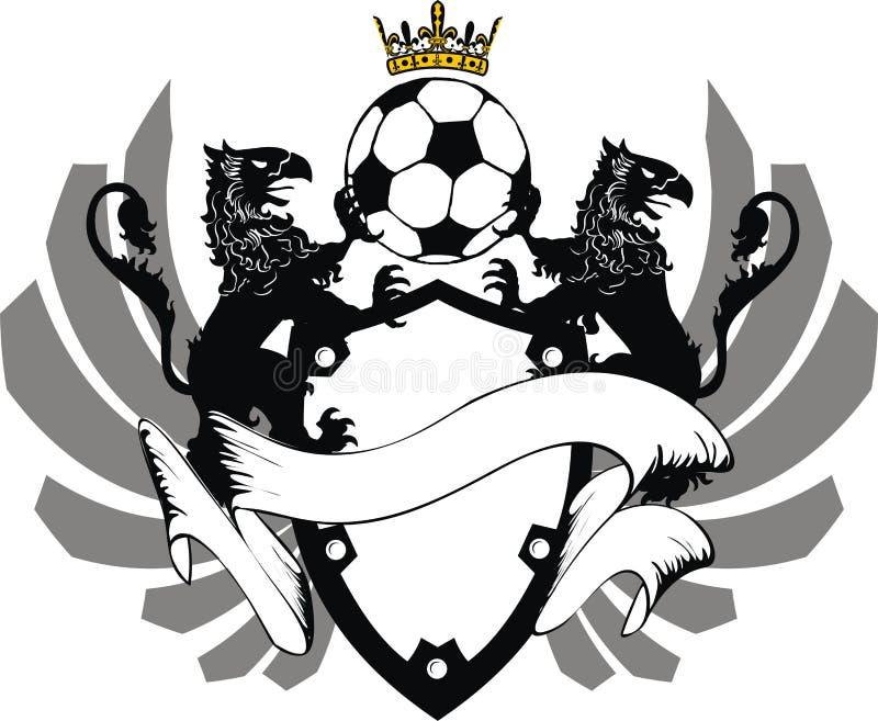 Crista heráldica da tatuagem do futebol da crista da brasão do gryphon ilustração royalty free