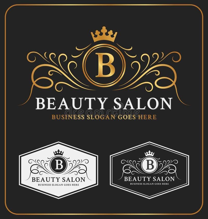 Crista heráldica Logo Template do salão de beleza ilustração royalty free