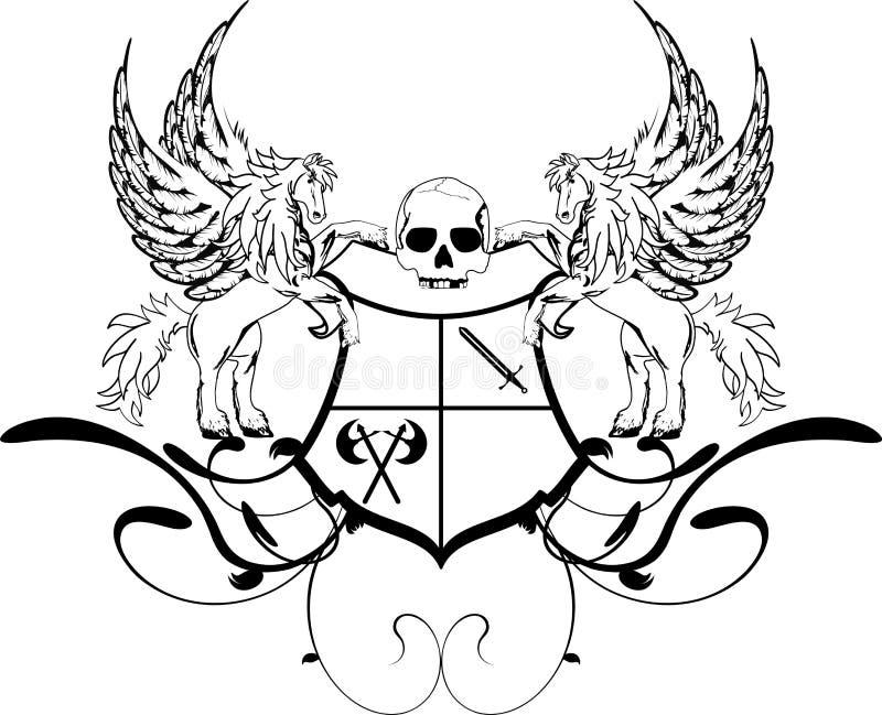 Crista heráldica shield3 da brasão de pegasus ilustração do vetor