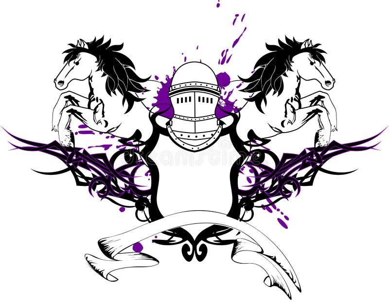 Crista heráldica shield6 da brasão do cavalo ilustração royalty free