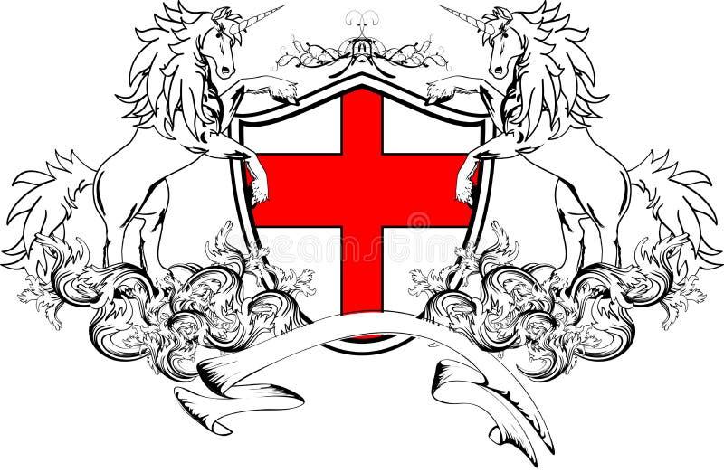 Crista heráldica shield4 da brasão do unicórnio ilustração royalty free