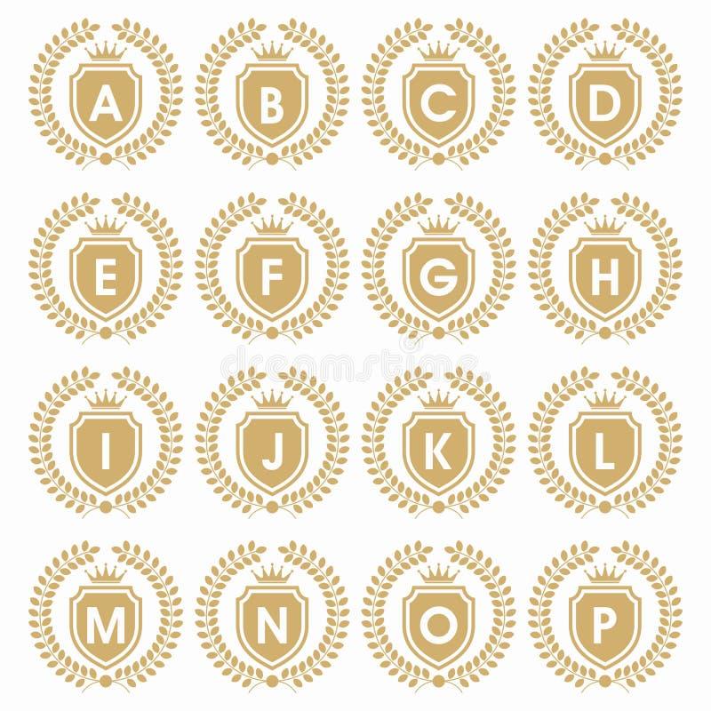 CRISTA INICIAL do LOGOTIPO COM crista ajustada do PROTETOR E da letra inicial com coroa LogoCROWN elegante heráldico ilustração do vetor