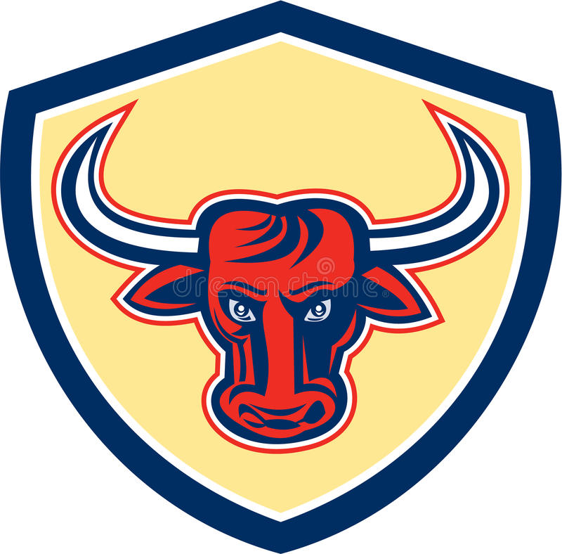 Crista irritada da cabeça de Bull retro ilustração royalty free