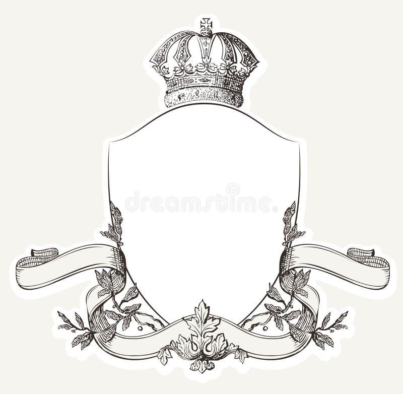 Crista real do vintage com protetor, coroa e Banne ilustração stock