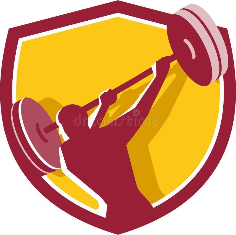 Crista traseira de balanço do Barbell do Weightlifter retro ilustração royalty free