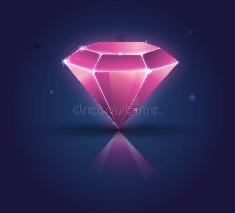 Cristais brilhantes brilhantes coloridos cristal do diamante ilustração royalty free