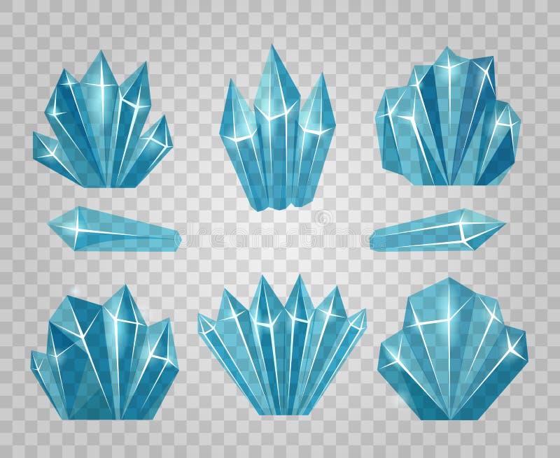Cristais de gelo isolados no fundo transparente ilustração do vetor