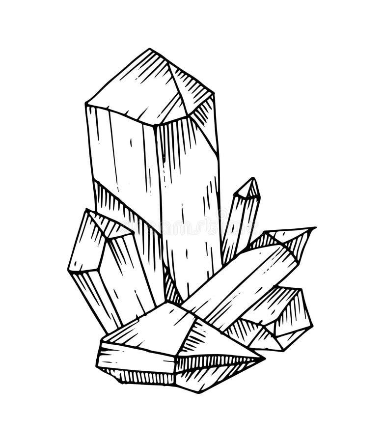 Cristais tirados mão Elementos isolados decorativos românticos perfeitos para o cartão gretting, papel do presente, decoração do  ilustração do vetor