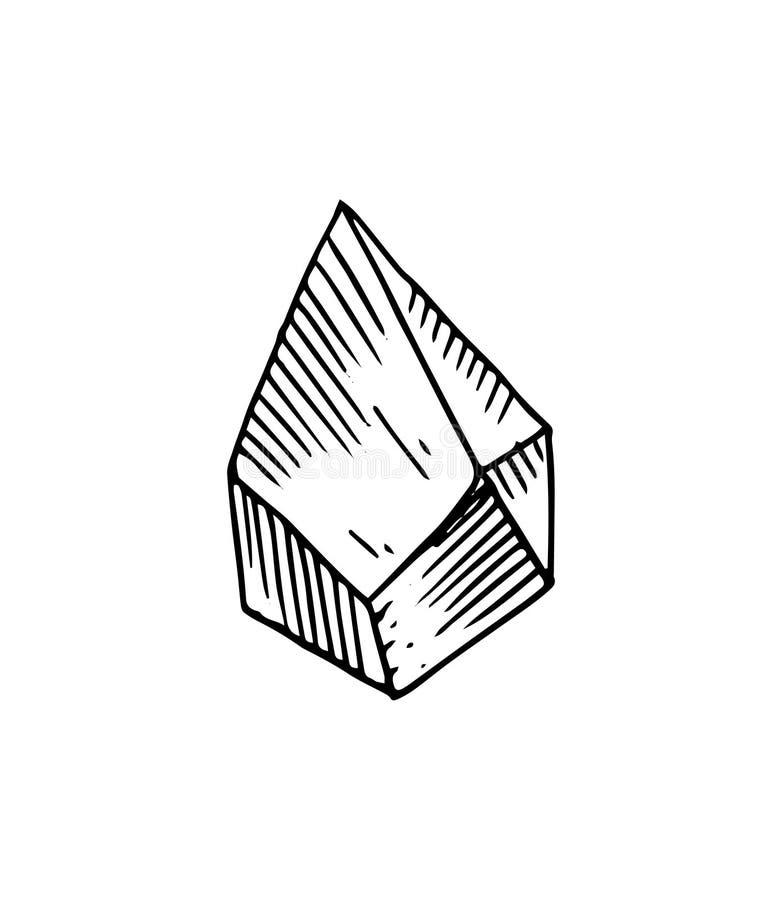 Cristais tirados mão Elementos isolados decorativos românticos perfeitos para o cartão gretting, papel do presente, decoração do  ilustração stock