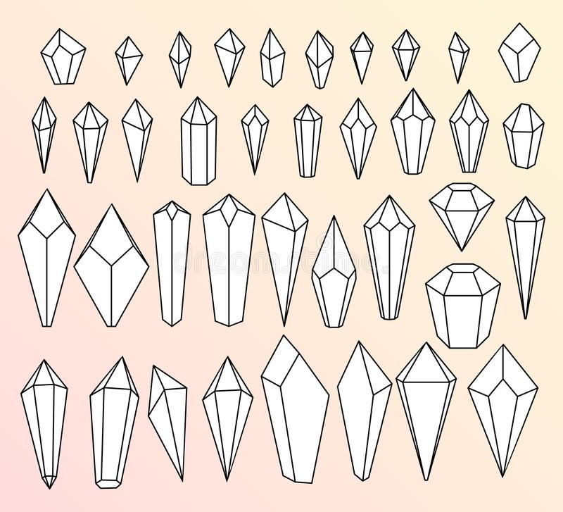 Cristais, um grupo de ícones lineares do vetor ilustração stock