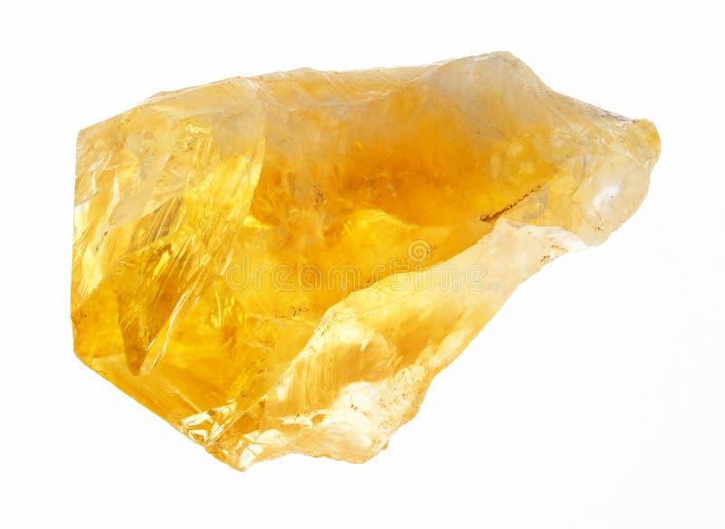 cristal áspero de citrino (cuarzo amarillo) en blanco imágenes de archivo libres de regalías