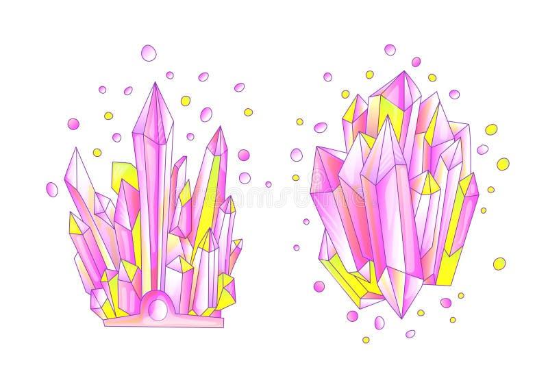 Cristal amarelo e cor-de-rosa, ilustração bonito de quartzo do vetor dos desenhos animados Druso do cristal de quartzo, grão cor- ilustração stock