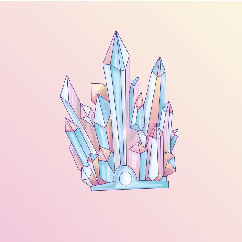 Cristal azul e cor-de-rosa, ilustração bonito de quartzo do vetor dos desenhos animados Druso do cristal de quartzo, grão cor-de- ilustração stock