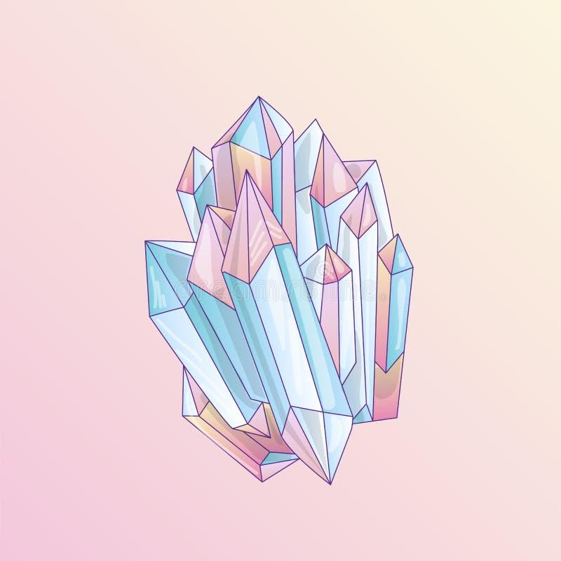 Cristal azul e cor-de-rosa, ilustração bonito de quartzo do vetor dos desenhos animados Druso do cristal de quartzo, grão cor-de- ilustração royalty free
