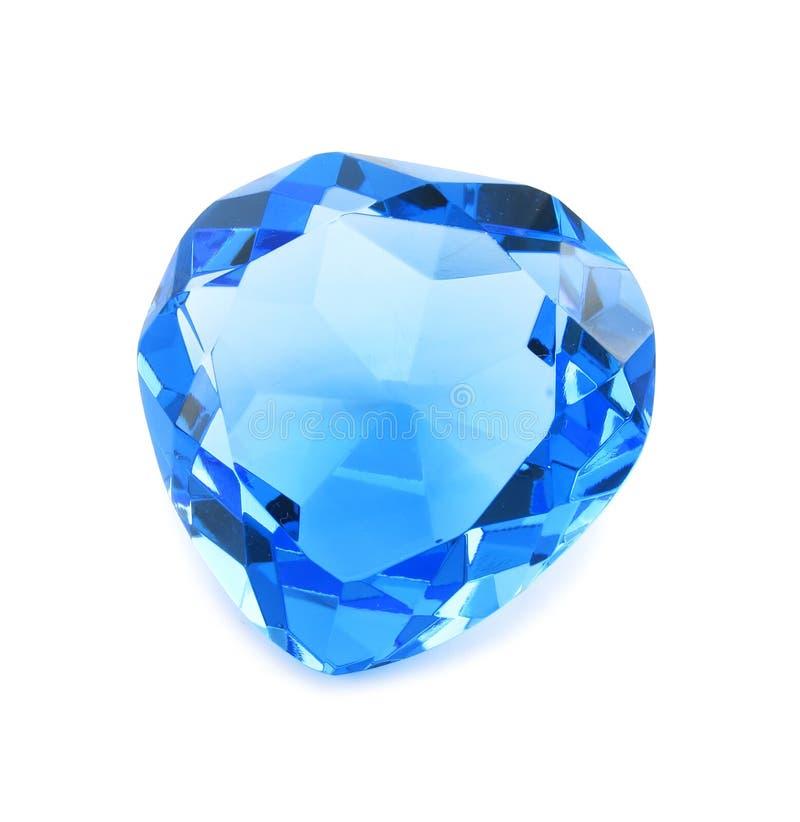 Cristal azul en forma de corazón aislado fotos de archivo libres de regalías