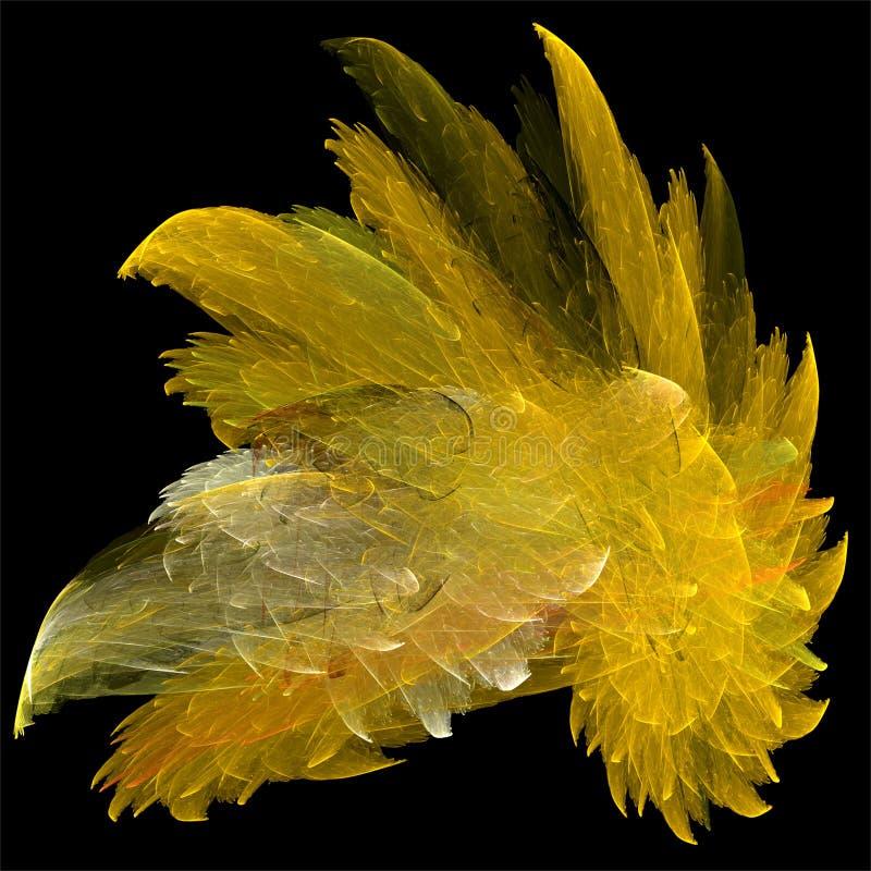 Cristal brilhante amarelo dos fractals do sumário da arte do fractal do computador de Digitas ilustração royalty free