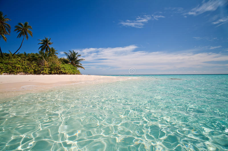 Cristal clear blue lagoone stock photography