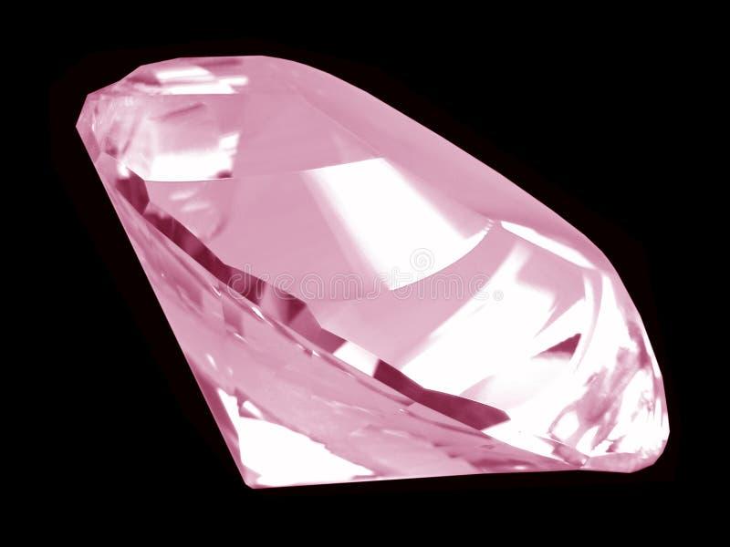 Cristal cor-de-rosa do diamante (lado) imagem de stock royalty free