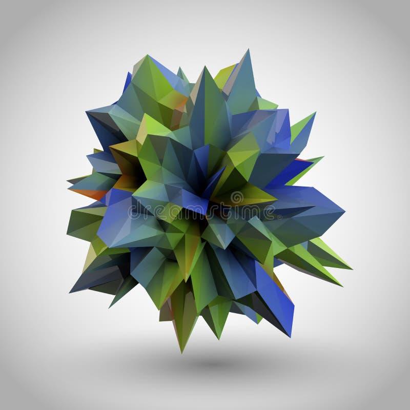 Cristal 3D abstrato ilustração do vetor