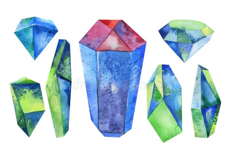 Cristal d'aquarelle, minerai, ensemble de gemme Illustration pour aquarelle illustration de vecteur